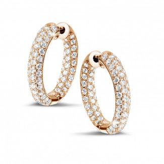 玫瑰金钻石耳环 - 2.15克拉玫瑰金密镶钻石耳环