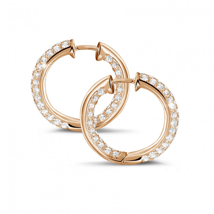 2.15克拉玫瑰金密镶钻石耳环