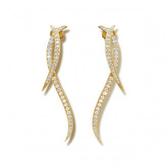 黄金钻石耳环 - 设计系列1.90克拉黄金钻石耳环