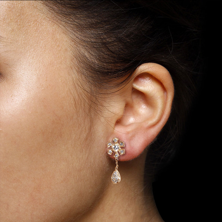 设计系列0.95克拉玫瑰金钻石蜻蜓舞花耳环