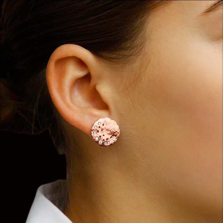 设计系列0.26克拉玫瑰金钻石耳环