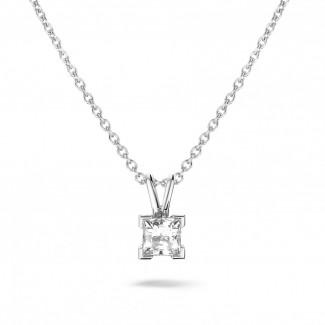 铂金钻石项链 - 0.70克拉公主方钻铂金吊坠