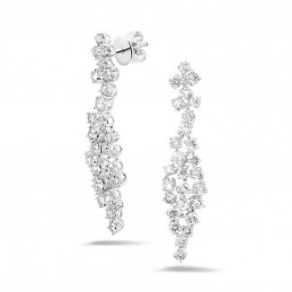 铂金钻石耳环 - 2.90克拉铂金钻石耳环