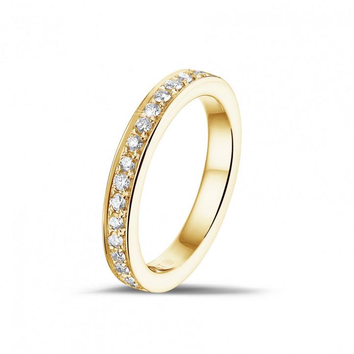 0.25克拉镶钻黄金永恒戒指 (半环镶钻)