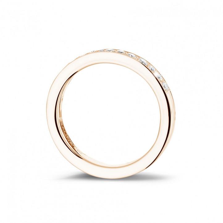 0.25克拉镶钻玫瑰金永恒戒指 (半环镶钻)