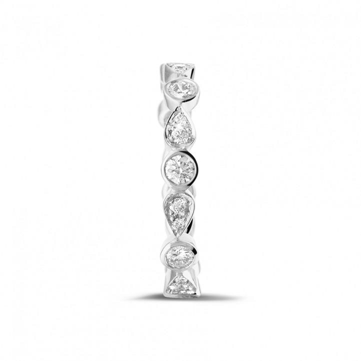0.50克拉可叠戴铂金钻石永恒戒指 - 梨形设计