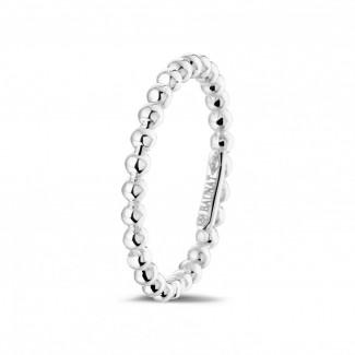 钻石结婚戒指 - 可叠戴串珠白金戒指