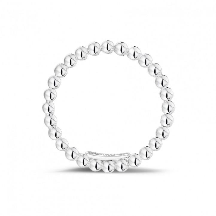 可叠戴串珠白金戒指