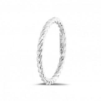 白金钻石婚戒 - 可叠戴螺旋白金戒指