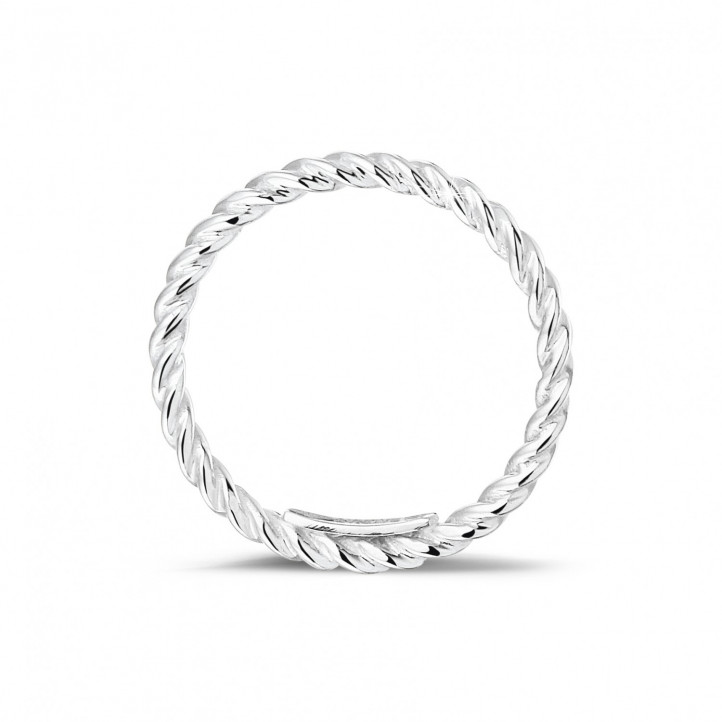 可叠戴螺旋白金戒指
