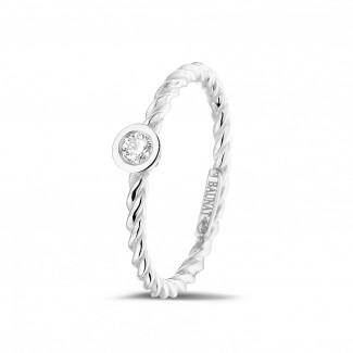 白金钻戒 - 0.07克拉可叠戴螺旋白金钻石戒指