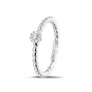 白金钻戒 - 0.04克拉可叠戴串珠白金钻石戒指