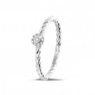 白金钻戒 - 0.04克拉可叠戴螺旋白金钻石戒指