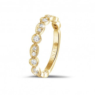 黄金钻戒 - 0.30克拉可叠戴黄金钻石永恒戒指 - 榄尖形设计