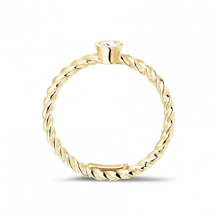0.07克拉可叠戴螺旋黄金钻石戒指