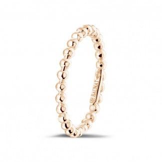 玫瑰金钻石婚戒 - 可叠戴串珠玫瑰金戒指