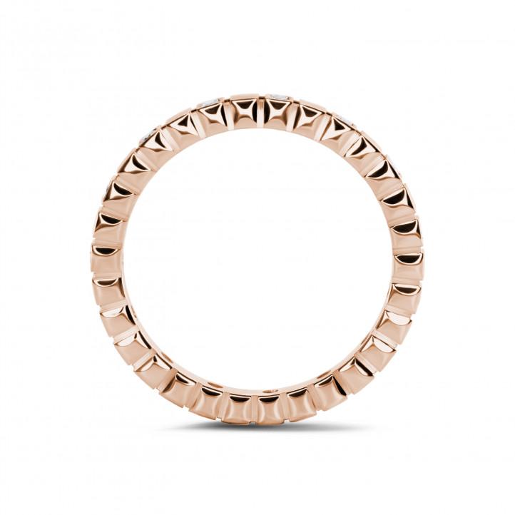 0.07克拉可叠戴玫瑰金钻石格子戒指