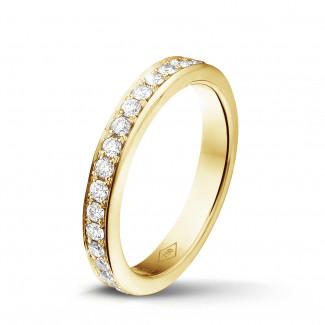 黄金钻石婚戒 - 0.68 克拉黄金密镶钻石戒指