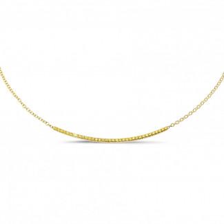黄金钻石项链 - 0.30克拉黄金黄钻项链