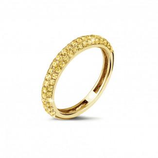黄金钻石婚戒 - 0.65克拉黄金密镶钻石戒指 (镶嵌半圈黄钻)