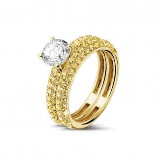 钻石戒指 - 1.00克拉黄金单钻戒指 - 镶嵌半圈黄钻订婚/结婚对戒