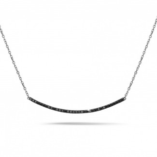 经典系列 - 0.30克拉白金黑钻项链