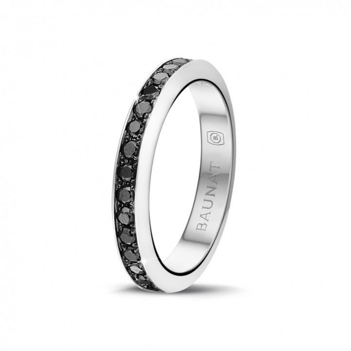 0.68 克拉白金密镶黑钻戒指
