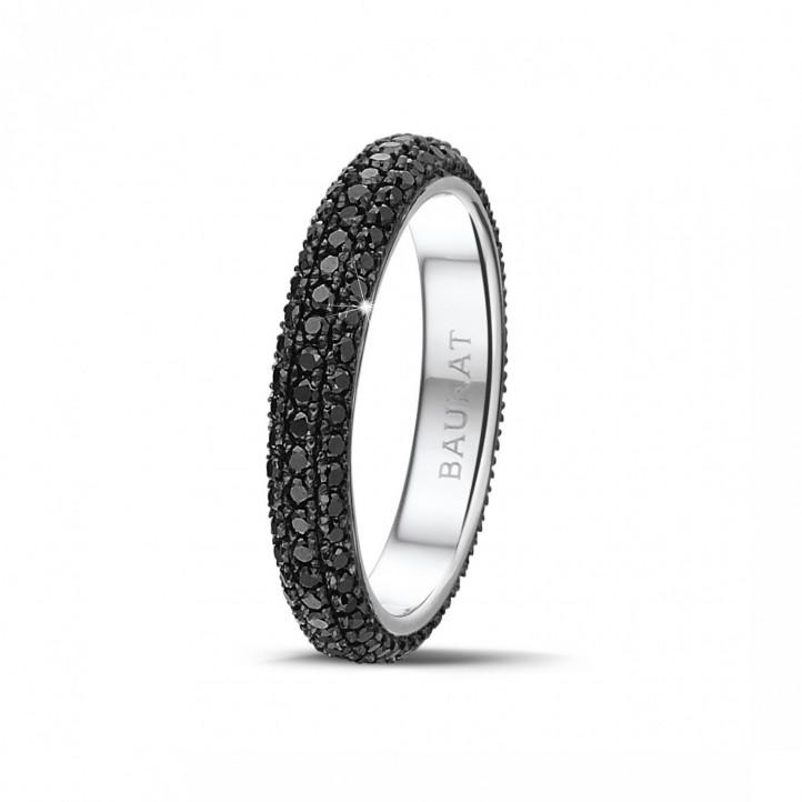0.85克拉白金密镶黑钻戒指