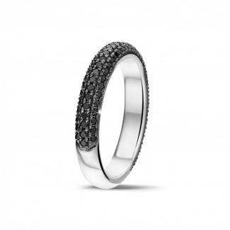 白金钻石婚戒 - 0.65克拉白金密镶黑钻戒指 (半环镶钻)
