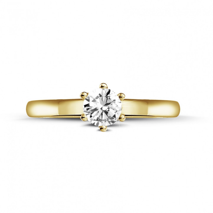 0.30克拉6爪黄金单钻戒指