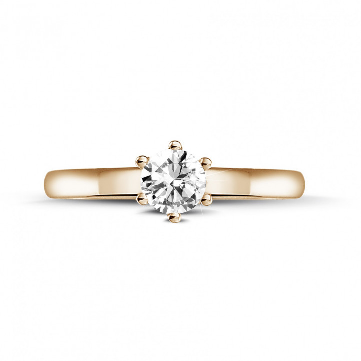 0.30克拉6爪玫瑰金单钻戒指