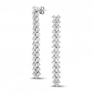 钻石耳环 - 5.80克拉白金钻石编织纹耳钉