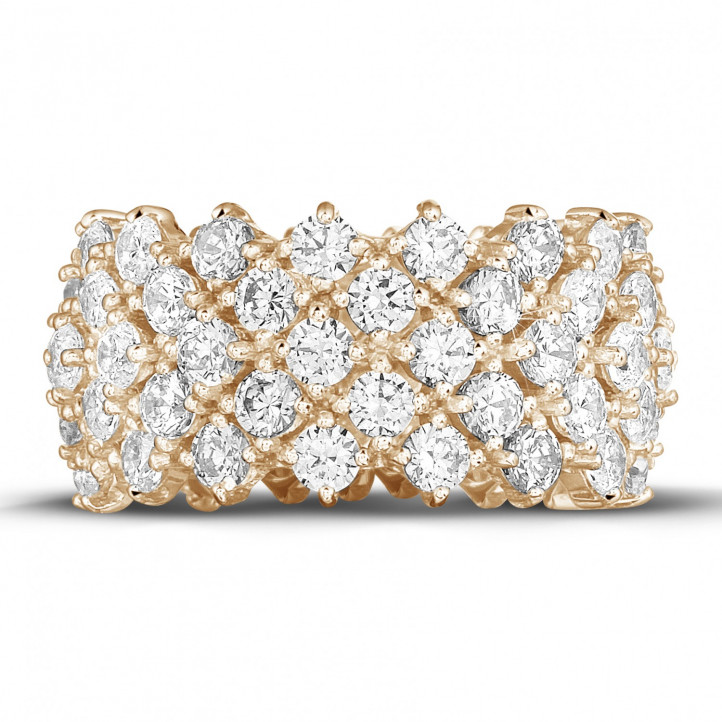 玫瑰金钻石编织纹戒指
