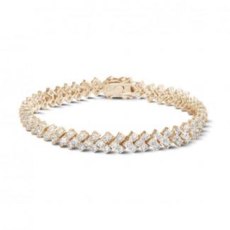 玫瑰金 - 9.50 克拉玫瑰金钻石编织纹手链