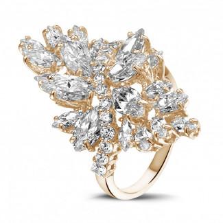 玫瑰金 - 5.80 克拉玫瑰金榄尖与圆形钻石戒指