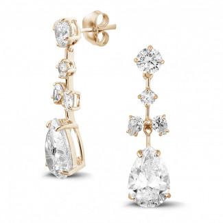 玫瑰金 - 7.00 克拉玫瑰金圆形与梨形钻石耳钉