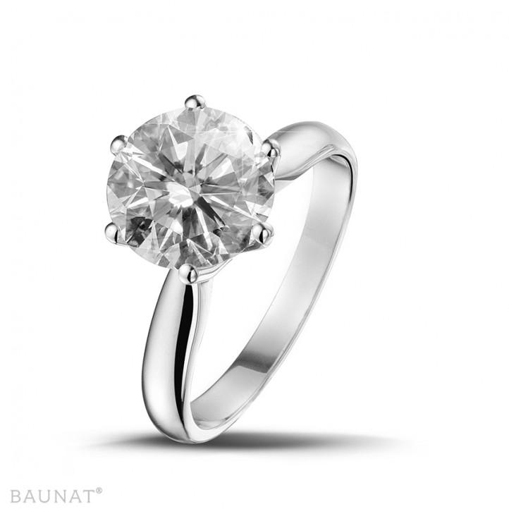 3.00克拉白金戒指,镶有品质卓越的圆钻(D-IF-EX)