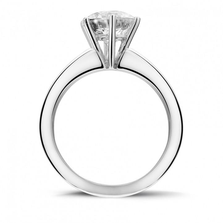 2.00克拉6爪白金戒指,镶有品质卓越的圆钻(D-IF-EX)