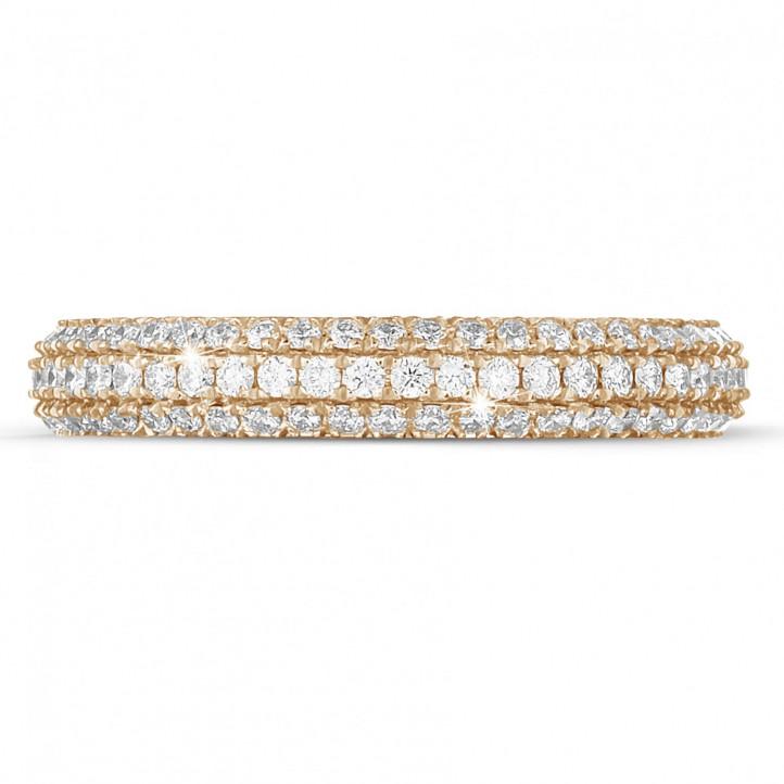 0.85克拉玫瑰金密镶钻石戒指