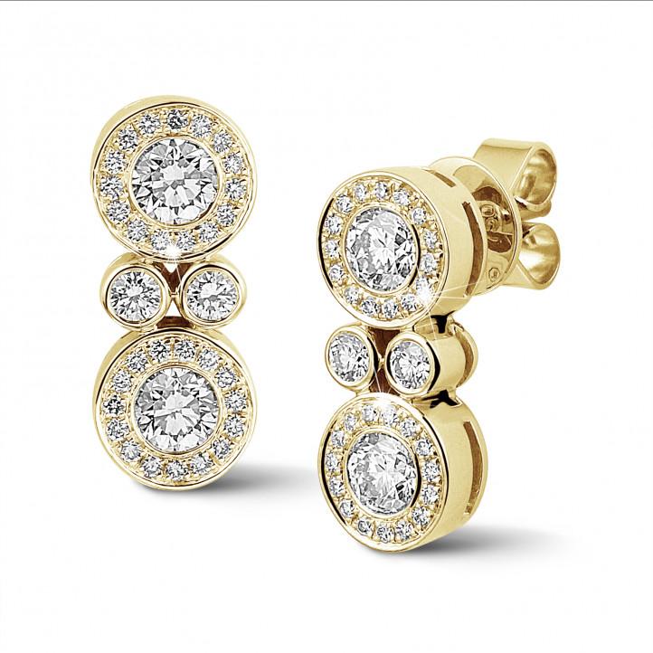 1.00克拉黄金钻石耳环