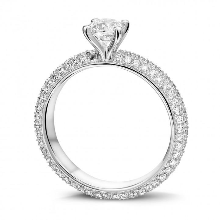0.50克拉白金单钻戒指 - 戒托群镶小钻(满镶)