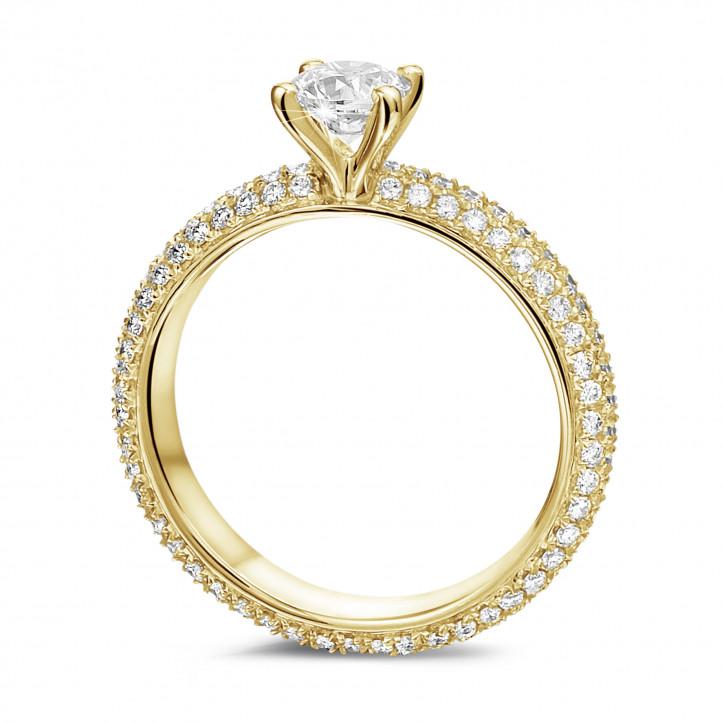 0.50克拉黄金单钻戒指 - 戒托群镶小钻(满镶)