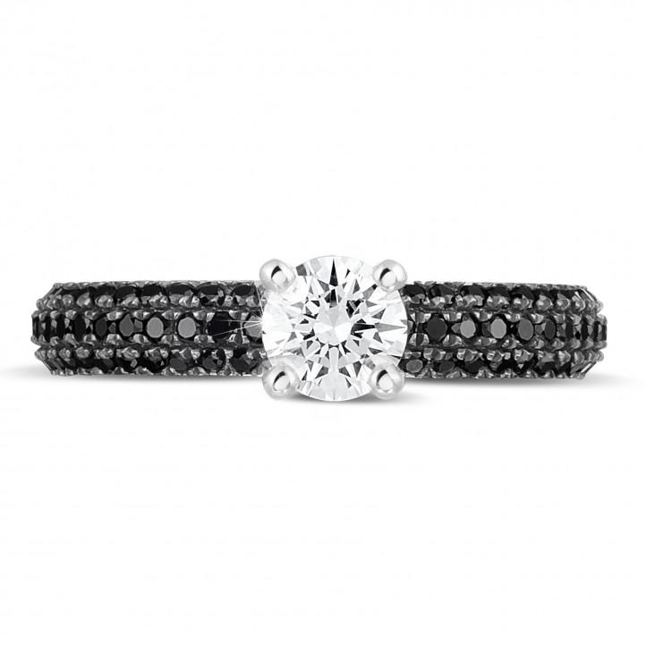 0.50克拉白金单钻戒指 - 戒托群镶黑钻(半环镶钻)