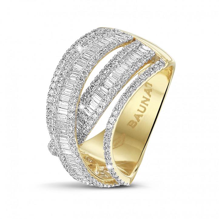 1.50克拉黄金圆形与长方形钻石戒指