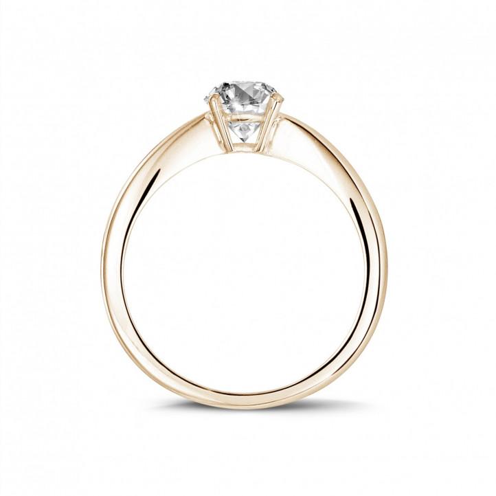 0.58克拉玫瑰金椭圆形单钻戒指