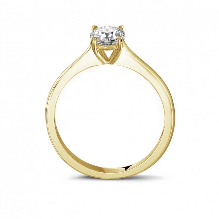 0.50 克拉四爪圆形黄金单钻戒指