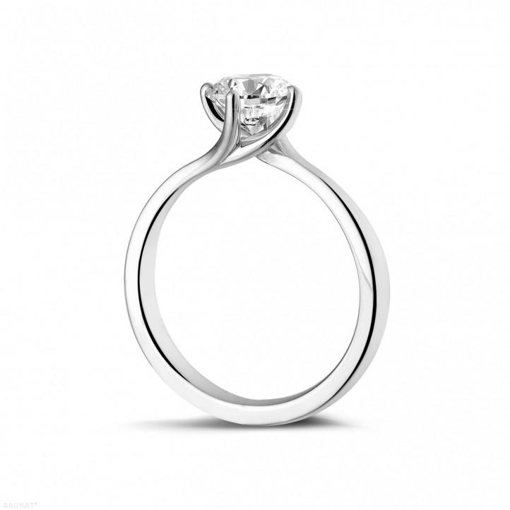 1.00克拉白金戒指,镶有品质卓越的圆钻(D-IF-EX)