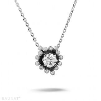 白金钻石项链 - 设计系列 0.75克拉白金钻石吊坠项链
