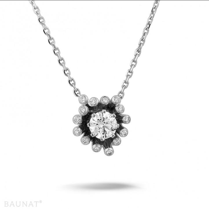 设计系列 0.75克拉白金钻石吊坠项链