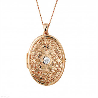 玫瑰金 - 设计系列0.40克拉玫瑰金钻石照片盒式吊坠项链